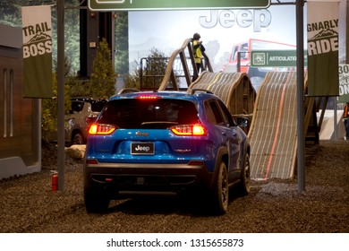 CHICAGO, IL - FEBRUARY 9: Jeep Cherokee test drive with obstacles at the annual International auto-show, February 9, 2019 in Chicago, IL
