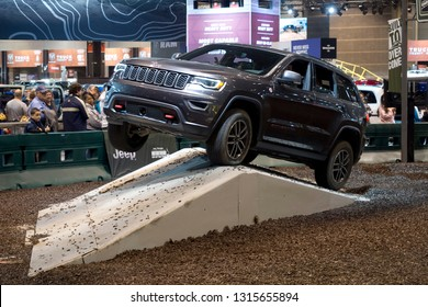 CHICAGO, IL - FEBRUARY 9: Jeep Grand Cherokee test drive with obstacles at the annual International auto-show, February 9, 2019 in Chicago, IL