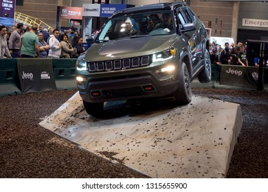 CHICAGO, IL - FEBRUARY 9: Jeep Compass test drive with obstacles at the annual International auto-show, February 9, 2019 in Chicago, IL