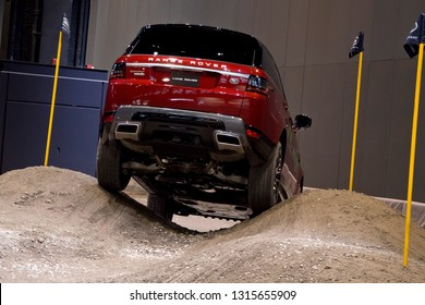 CHICAGO, IL - FEBRUARY 9: Land Rover test drive with obstacles at the annual International auto-show, February 9, 2019 in Chicago, IL