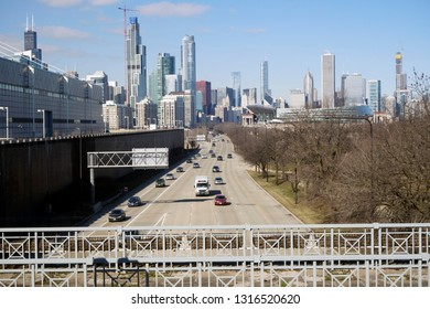 CHICAGO, IL - FEBRUARY 9: McCormick place and the Chicago Skyline at the annual International auto-show, February 9, 2019 in Chicago, IL