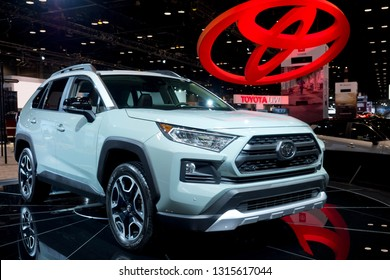 CHICAGO, IL - FEBRUARY 9: Toyota Rav4 SUV at the annual International auto-show, February 9, 2019 in Chicago, IL