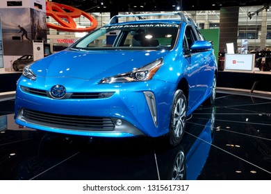 CHICAGO, IL - FEBRUARY 9: Toyota Prius AWD 2019 at the annual International auto-show, February 9, 2019 in Chicago, IL