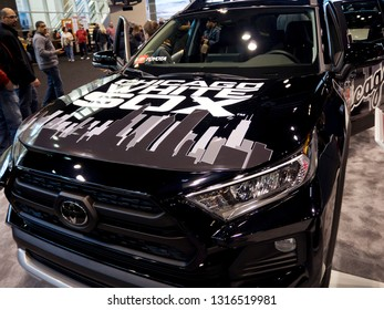 CHICAGO, IL - FEBRUARY 9: Chicago White Sox Toyota Rav4 at the annual International auto-show, February 9, 2019 in Chicago, IL