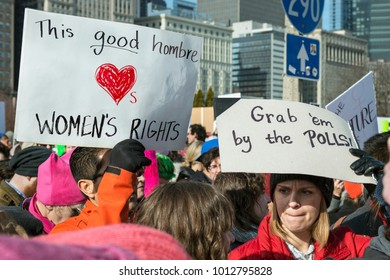 Chicago, IL - January 20, 2018 - Women's March brought together people protesting against inequality in various social issues.
