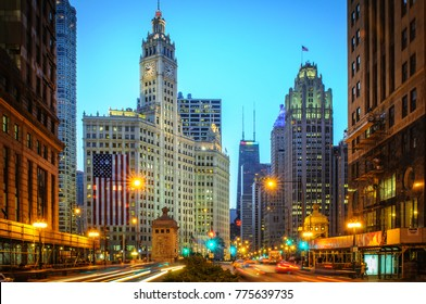 Chicago, IL - July 1, 2014: To celebrate America's Independence Day, a nine-story tall American flag hangs from the Wrigley Building in downtown Chicago. (1940)