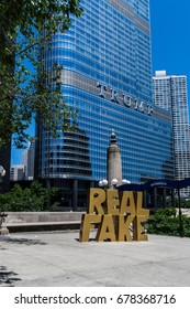 CHICAGO, IL - JULY 1, 2017 - Art installation placed in front of Trump Tower Chicago alluding to Donald Trump's repeated use of the phrase, fake news.