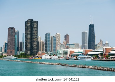 CHICAGO, IL - JULY 1: View of the Chicago Harbor and Navy Pier with the skyline in the background as seen from Lake Michigan on July 1, 2013.