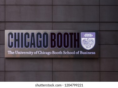 CHICAGO, IL - JULY 10, 2018 - Logo of The University of Chicago Booth School of Business (also known as Chicago Booth, or Booth) on the side of the building