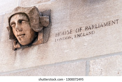 CHICAGO, IL - JULY 10, 2018 - Piece from London House of Parliament is incorporated in the lowe walls of Tribune Tower, togheter with other pieces of famous buildings from around the world