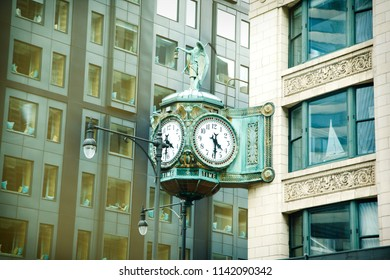 CHICAGO, IL, July 14, 2018: Famous Marshall Field's Clock in Downtown Chicago on State Street