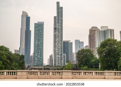 Chicago, IL - July 20,2021: Beautiful city architecture, with skyscrapers and high and low rises downtown, in the Loop, on a summer day.