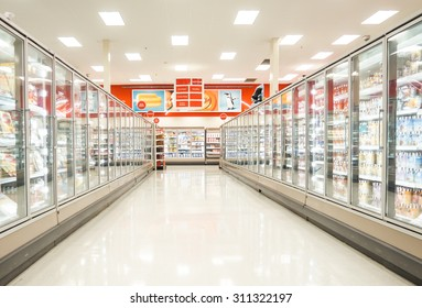 Chicago, IL July 26: Frozen food section of a supermarket in Chicago on July 26, 2015. Consumption of fresh produce is on the rise due to growing health awareness
