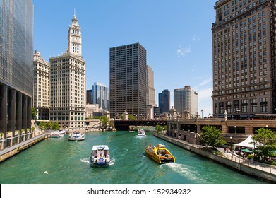 CHICAGO, IL - JULY 8: The Chicago River on July 8, 2012 in Chicago, Illinois. The Chicago River serves as the main link between the Great Lakes and the Mississippi Valley waterways.