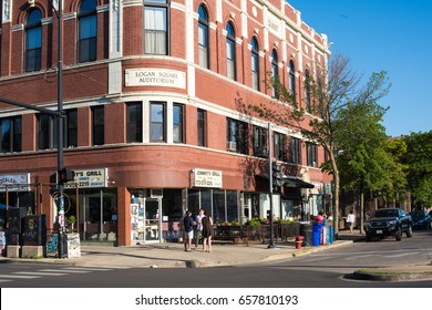 CHICAGO, IL, June 10, 2017: Friends waiting outside the Logan Square Auditorium, a famous, longstanding music venue in the neighborhood, which is known for its great music scene.