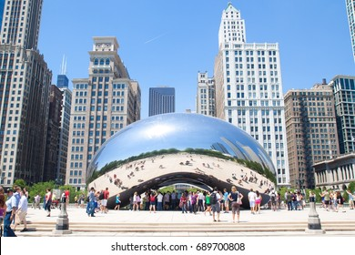 CHICAGO, IL - JUNE 9, 2012 : Cloud Gate, a public sculpture by Anish Kapoor at Millennium Park, Chicago, USA. Constructed between 2004-2006, the sculpture is nicknamed The Bean because of its shape.