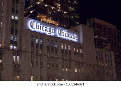 CHICAGO, IL - MARCH 19: Chicago Tribune Newspaper headquarters in downtown at night of Chicago, Illinois on March 19, 2018.