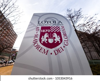 Chicago, IL - March 23, 2018: Loyola University students and staff celebrate the Ramblers basketball team making the elite 8 in March Madness NCAA tournament on the anniversary of their 1963 title.