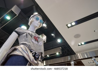 CHICAGO, IL - MARCH 24, 2016: inside of Topshop store. Topshop is a British multinational fashion retailer of clothing, shoes, make-up and accessories.