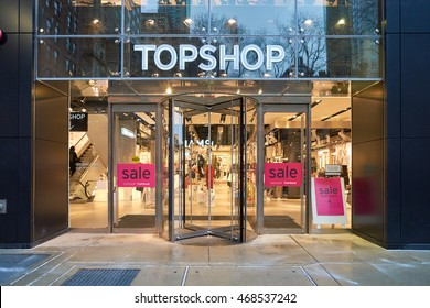 CHICAGO, IL - MARCH 24, 2016: entryway of Topshop store. Topshop is a British multinational fashion retailer of clothing, shoes, make-up and accessories.