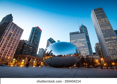 CHICAGO, IL - March 6, 2015: Cloud Gate and Chicago skyline in Millennium Park, Chicago, Illinois, USA