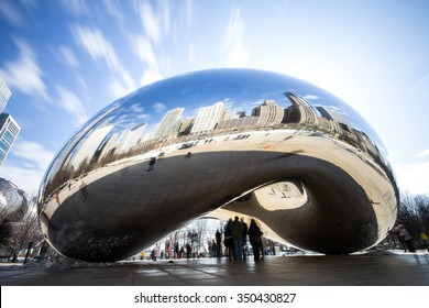 CHICAGO, IL - March 7, 2015: Cloud Gate and Chicago skyline in Millennium Park, Chicago, Illinois, USA