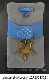 Chicago, IL May 26, 2018, United States Congressional Medal of Honor on display, Butch O'Hare exhibit at O'hare International Airport, military medal