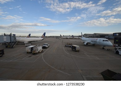 Chicago, IL May 26, 2018, O'Hare International Airport, United Express and Air Canada Express airplane parked at gates in the early morning