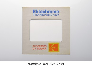 CHICAGO, IL - November 10, 2019: Kodak Ektachrome slide mount.  Ektachrome is a brand name owned by Kodak for a range of transparency, still, and motion picture films.