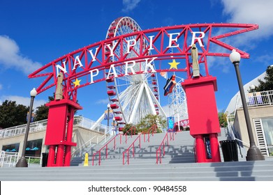 CHICAGO, IL - OCT 1: Navy Pier and skyline on October 1, 2011 in Chicago, Illinois. It was built in 1916 as 3300 foot pier for tour and excursion boats and is Chicago's number one tourist attraction.