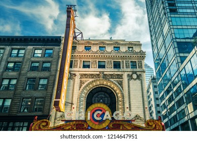CHICAGO, IL - OCT 8: Chicago Theatre and street view on October 8, 2018 in Chicago, Illinois. The iconic Chicago Theatre marquee appears in film, television, artwork, and photography as city landmark.