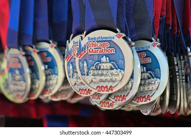 CHICAGO, IL - OCTOBER 12, 2014: Participation medals at the finish line of the Chicago Marathon