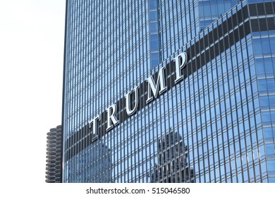 CHICAGO, IL - OCTOBER 2016: Trump Tower, Fall 2016.