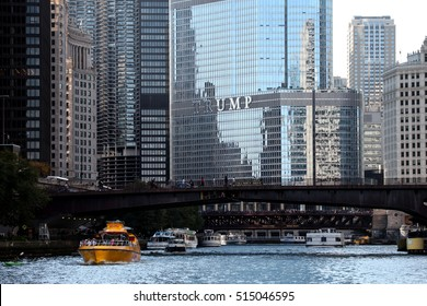 CHICAGO, IL - OCTOBER 2016: Trump Tower from the Chicago River, Fall 2016.