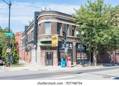 Chicago, IL, September 2, 2017: A Korean Barbecue restaurant in a quirky, interesting building in the North Center neighborhood of Chicago, an area known for its older, interesting architecture.