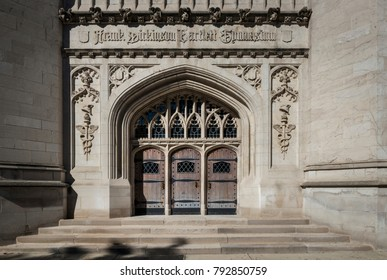 Chicago, IL - September 20,2015 - The Entrance to Bartlett Gymnasium showing influence of Arts and Crafts and Gothic architectural styles.
