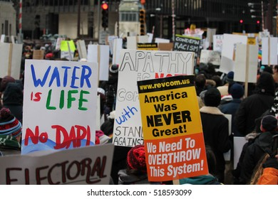CHICAGO, IL -- Thousands of protesters fill Chicago streets November 19, 2016, in continuing protest against President-elect Trump and picks to form his administration.