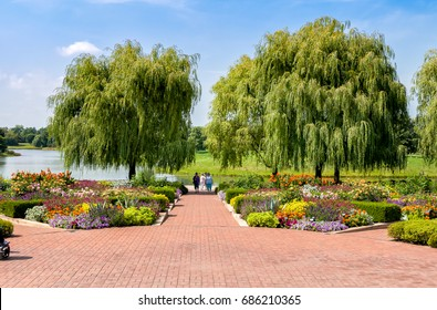 Chicago, IL, United States - August 18, 2014: People visiting Botanic Garden in Chicago.