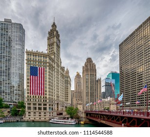 Chicago, IL United States - Augustl 09, 2017: Tourist boat on the Chicago River among the skyline.