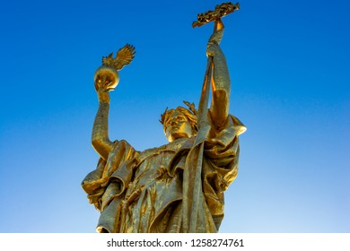 Chicago, IL, United States - December 9, 2018: Shot of the 1918 replica of the original Statue of the Republic, originally made for the 1893 World's Columbian Exposition that took place in Chicago.