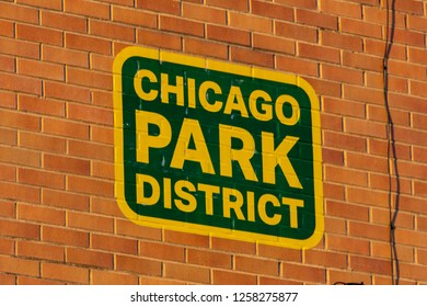 Chicago, IL, United States - December 9, 2018:Chicago Park District sign on a brick wall in one of Chicago's public parks.