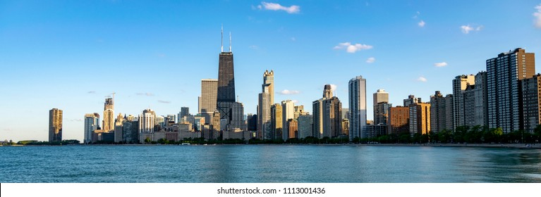 Chicago, IL, United States - June 3rd, 2018: Panoramic shot of Chicago Skyline as seen from the North Ave Beach.