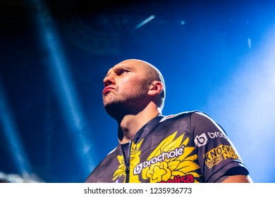 Chicago, IL, United States - November 10, 2018: Krzysztof Glowacki before his quarter-final boxing match at the UIC Pavilion in Chicago Illinois against a Russian boxer Maksim Vlasov.