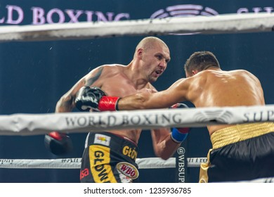 """Chicago, IL, United States - November 10, 2018: Krzysztof """"Glowka"""" Glowacki fighting against a Russian boxer Maksim Vlasov in quarter-finals of the World Boxing Super Series at the UIC Pavilion."""