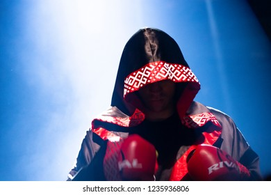 Chicago, IL, United States - November 10, 2018: Mairis Briedis before his boxing match at the UIC Pavilion in Chicago Illinois against Noel Mikaelian.