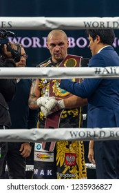 """Chicago, IL, United States - November 10, 2018: Krzysztof """"Glowka"""" Glowacki being interviewed after his win at the UIC Pavilion in the World Boxing Super Series Quarter-finals."""
