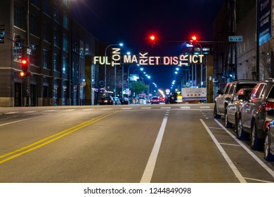 Chicago, IL, United States - November 18, 2018 - Shot of the natrance to the Fulton Market District in Chicago, Illinois on Fulton St.