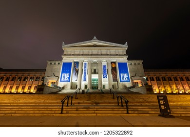 Chicago, IL, United States - October 14, 2018: Night shot of The Field Musem, one of Chciago's landmarks and a popular toursit attraction.