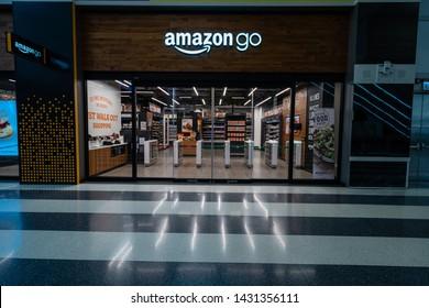 Chicago, IL / US - June 22 2019: Amazon Go store located in Ovilvie Transportation Center in Chicago