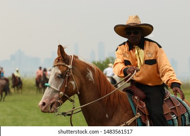 Chicago, Il / USA - 07/26/2014: Tour guide shows off his horse along the lake front trail on the south side of Chicago